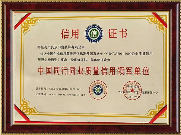 中国同行同业质量信用领军单位信用证书